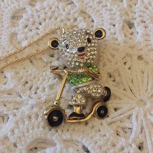 Teddy Bear On A Scooter Rhinestone Necklace